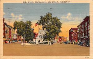 Connecticut, New Britain, Central Park, Main Street, auto vintage cars 1950