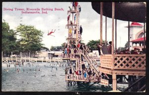 Indianapolis IN - Diving Tower at Riverside Beach  - 1910