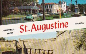 Greetings From St Augustine Showing Old Fort and Street Scene