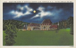 Night-Time Scene of Asheville Country Club North Carolina c1940s Linen Postcard