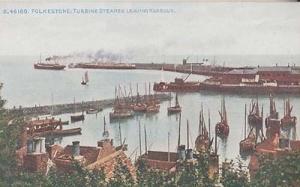 Turbine Ship Steamer Leaving Folkestone Kent Antique Postcard