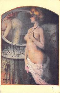 Raphael Kirchner Signed La Jolie Maud Semi-Nude Woman Postcard