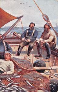 NORTH SEA FISHERMAN RETURNING TO HARBOUR~ALLEN STEWART TUCK ART POSTCARD c1905