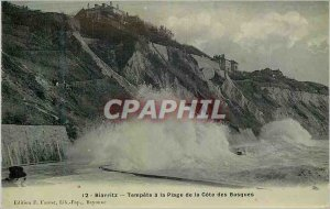 Old Postcard Biarritz Storm has the Beach of the Cote des Basques