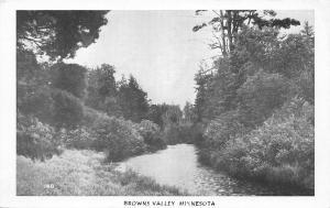 Browns Valley Minnesota~Scene Along Creek~1950s B&W Northwoods Postcard