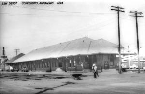 Jonesboro Arkansas SSW Railroad Depot Real Photo Antique Postcard K91110