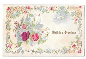 Birthday Greetings Red Silk rose & Dove Vintage Postcard