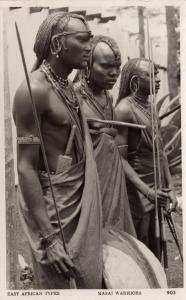 Masai Warriors Kenya Uganda Congo Real Photo Old Postcard