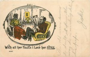 Postcard Comic Her faults I Love Her Still woman jaw tied shut gagged pm 1906