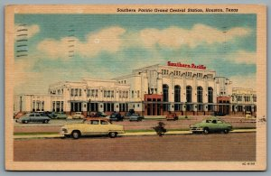 Postcard Houston TX c1957 Southern Pacific Grand Central Station Old Cars CDS