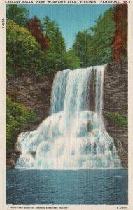Pembroke, VA, Cascade Falls, near Mountain Lake, Linen Vintage Postcard g8153