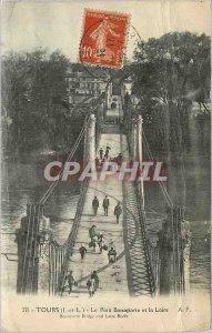 Postcard Old Tours (I and L) Bonaparte bridge and the Loire