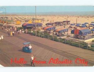 Pre-1980 COLORFUL SUN SHELTERS ON THE BEACH Atlantic City New Jersey NJ E8851