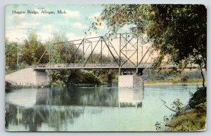 Allegan Michigan~Huggins Thru Truss Bridge~Reflection in Kalamazoo River~1909 PC
