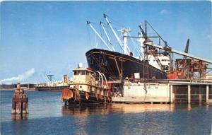 Corpus Christi Texas~Unloading Oil-Cotton-Grain from Ships @ Port~1950s Postcard