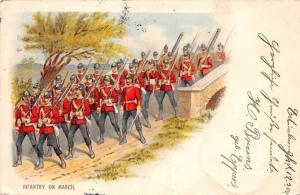 Military Infantry on March, Rifles, Militaria Patriotic Uniforms 1900