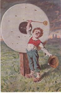 Post Card Boy Striking Gong from Germany