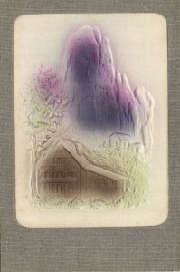 PC CPA WOVEN SILK, SCENE WITH MOUNTAIN AND HOUSE, SILK POSTCARD (b15101)