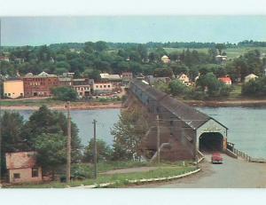 Unused Pre-1980 TOWN VIEW BEHING COVERED BRIDGE IN HARTLAND CANADA t7725