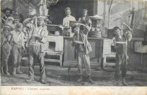 Napoletan pasta street seller macaroni eating real scene Naples Italy 1907