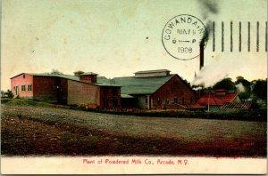 Vtg Postcard 1908 Arcade NY New York - Plant of Powdered Milk Co Merrell-Soul