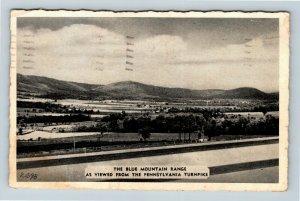 PA Blue Ridge Mountains, Turnpike View, Black & White Pennsylvania Postcard