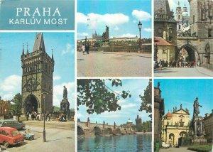 Postcard CZECH REPUBLIC Praha prague praga multi view city charles bridge church