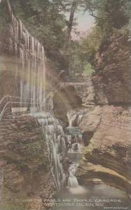 New York Watkins Rainbow Falls And Triple Cascade Albertype
