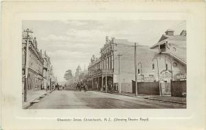 Vintage Postcard Gloucester Street Scene, Christchurch NZ Theatre Royal unposted