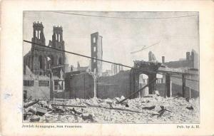 San Francisco California Jewish Synagogue 1906 earthquake/fire antique pc Z51010