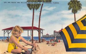 ST PETERSBURG FL CUTE LITTLE GIRL (AQUABABE)~SPA BEACH~$1M PIER POSTCARD 1956