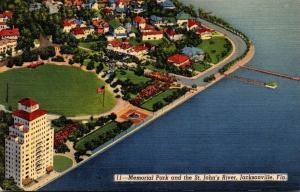 Florida Jacksonville Memorial Park and St John's River Curteich