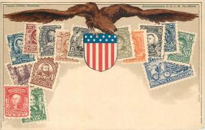 Stamps of United States embossed eagle crest Ottmar Zieher chromo litho postcard