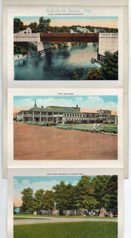 Rehoboth Beach Delaware Buildings Lighthouse Scenic View Postcard Folder AA21067
