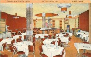 Beals Giovanni's Round Table Grill Bar Omaha Nebraska Postcard Interior 8408