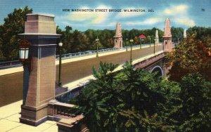Wilmington Delaware Washington Street Bridge Linen Vintage Postcard