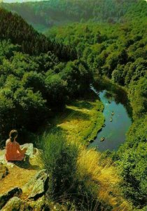 Belgium Chiny sur Semois Rocher du Hat River Boats Forest Panorama Postcard