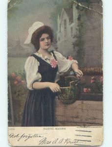 c1910 art nouveau RUSTIC MAIDEN - GIRL WITH BUCKET AT WATER WELL HL4505