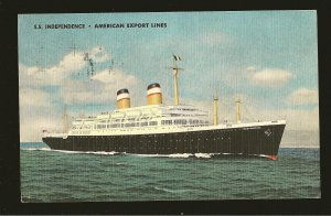SS Independence America Export Line Linen Postcard Posted in Spain