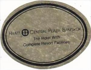 THAILAND BANGKOK HYATT CENTRAL PLAZA HOTEL VINTAGE LUGGAGE LABEL