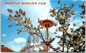 1962 Seattle World's Fair Expo Postcard Space Needle in Spring Blossom Flowers