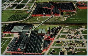 Pontiac, Michigan Postcard FISHER BODY PLANT Factory Aerial View Linen 1940s