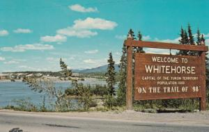 WHITEHORSE, Yukon, Canada, 1940-60s; Welcome to Whitehorse sign, Alaska Hig...