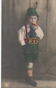 RP: German Child eating an apple , 1910s