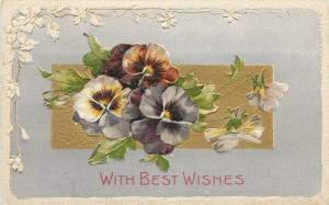 Pansies~Yellow Purple Rust~White Blossom Emboss Border~Silver Back~G-A Art