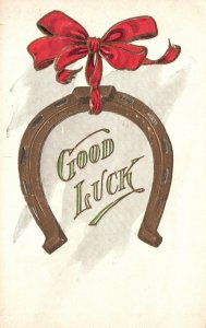 Vintage Postcard 1900's Red Ribbon & Horse Shoe Good Luck Greeting Card