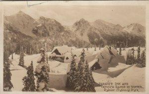 RP: RAINIER NATIONAL PARK, Washington,1924; Paradise Inn & Tatoosh Range, Winter