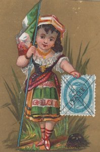 Trade Card (TC): Stamp & Girl carrying Flag , 1880-90s ; Italy