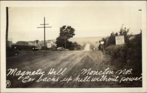 Moncton NB Magnetic Hill Real Photo Postcard