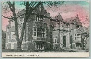 Madison Wisconsin~Madison Free Library~c1910 Postcard